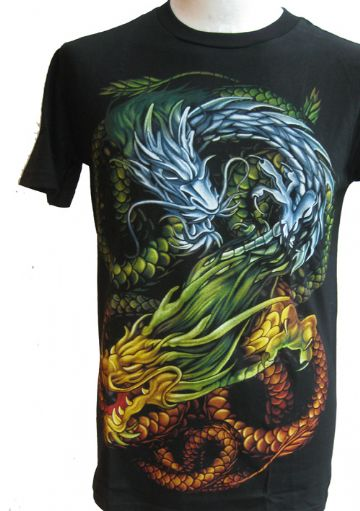 Red And Green Dragons Fighting T Shirt With Large Back Print